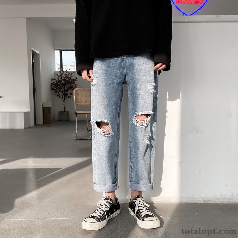 Men's Loose Straight Blue Summer Jeans Pants Europe Trend Personality Hole Silver Pale Purple Online