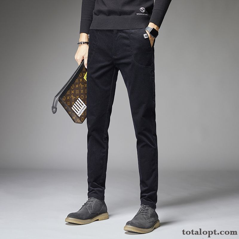 Men's New Winter All-match Black Europe Trend Leisure Autumn Pants Spring Youth Gold Rosybrown Sale