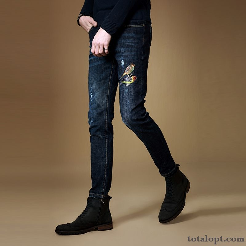 Men's Pants Jeans Winter Blue Embroidery Europe Trend Slim Baby Pink Paleturquoise For Sale