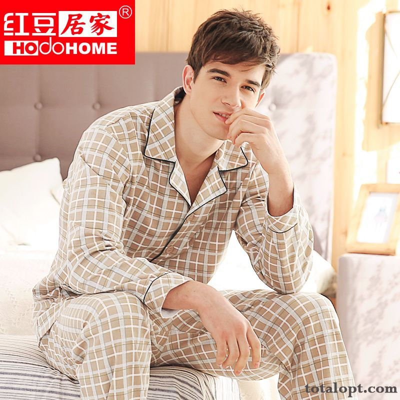 Men's Pure Cotton Robes Long Sleeves Spring Red Autumn New Products Pajamas Coral Springgreen Sale