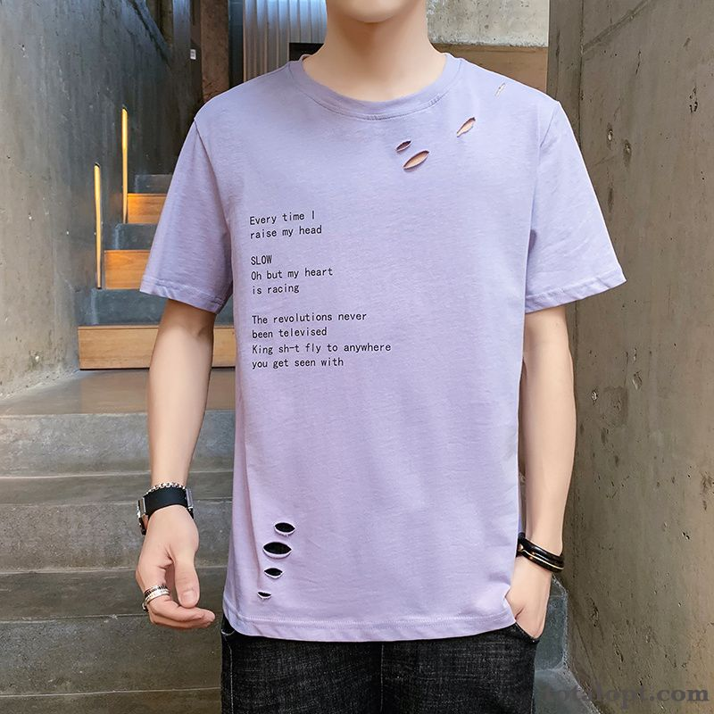 Men's Shorts Trend T-shirt Purple Bottoming Shirt New Loose Half Sleeve Ultra Summer Orange Black