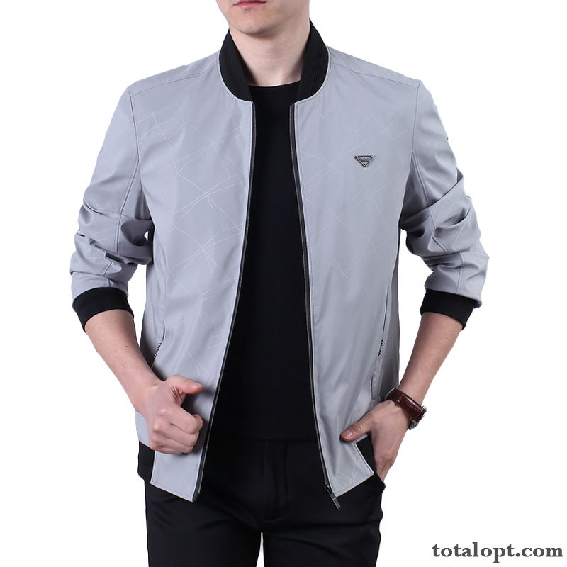 Men's Skinny Coat Autumn Fashion Jacket Spring New Products Gray Leisure Salmon Silver For Sale