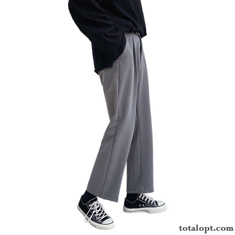 Men's Suit Loose All-match Trend Straight Pants Gray Leisure Trousers Europe Pansy Pea Green