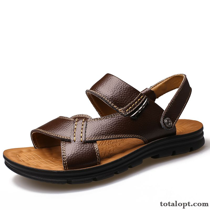 Men's Thick Sole Casual Genuine Leather Brown Anti-skid Summer Slippers Beach Sandals New Maize Grey Black