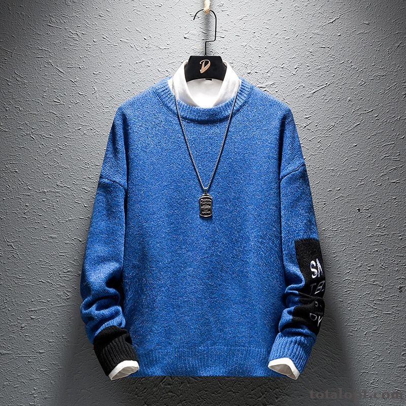 Men's Trend Knitting Blue Bottoming Shirt Europe Leisure Sweater New Misty Gray Pitch-dark