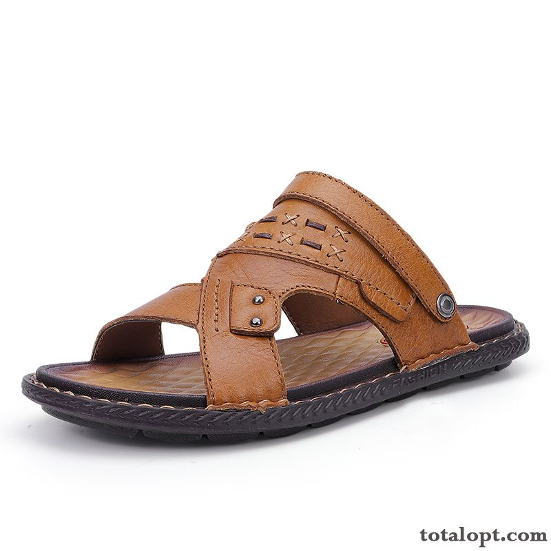 Men's Trend Outdoor New Slippers Brown Summer Genuine Leather Beach Sandals Personality Iridescent Red