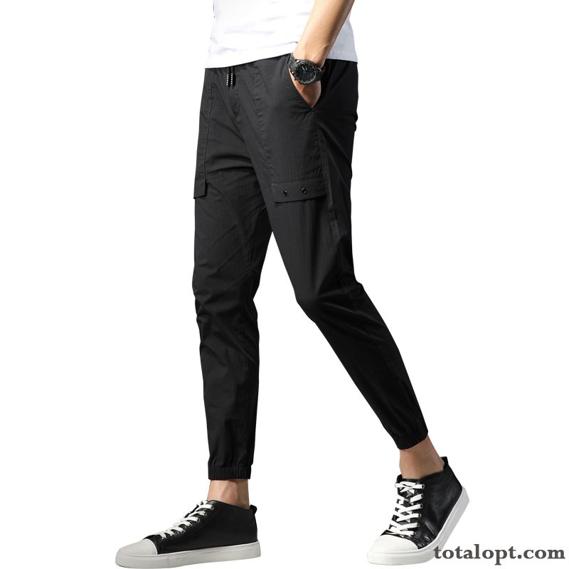 Men's Trend Tooling Pants Personality Black Ninth Pants New Leisure White Coffee