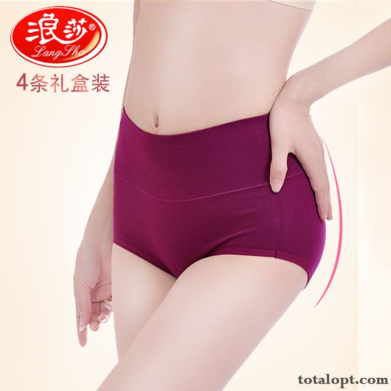 Middle Waisted Large Size Pure Sexy Fat Flat Angle Underwear Tight Lady Cotton High Waist Plum Ultramarine