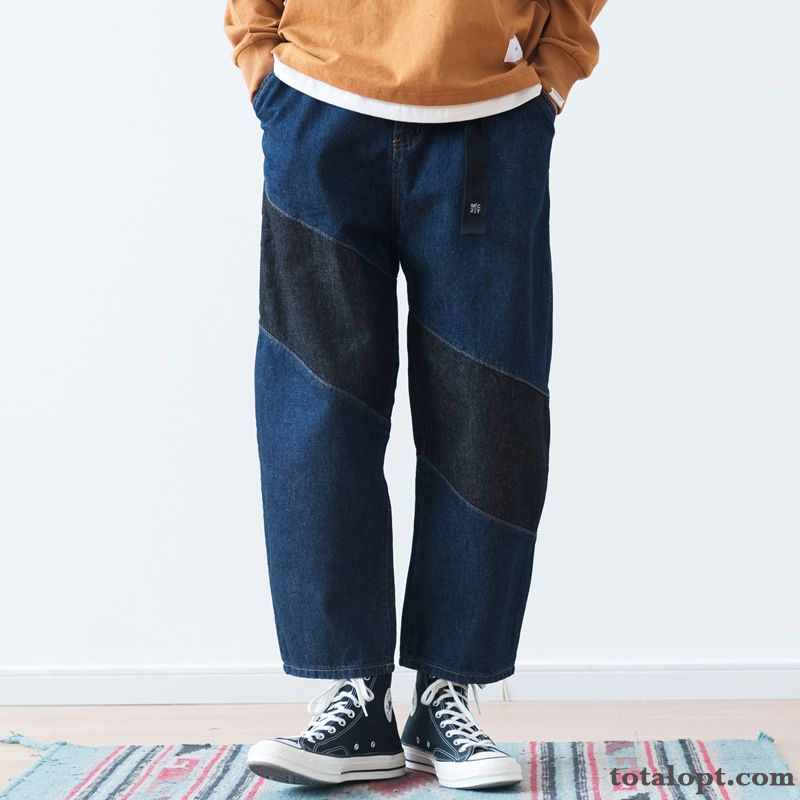 Mixed Colors Retro Men's Jeans Trend Autumn Pants Student Tooling Blue Loose Silver White Lawngreen