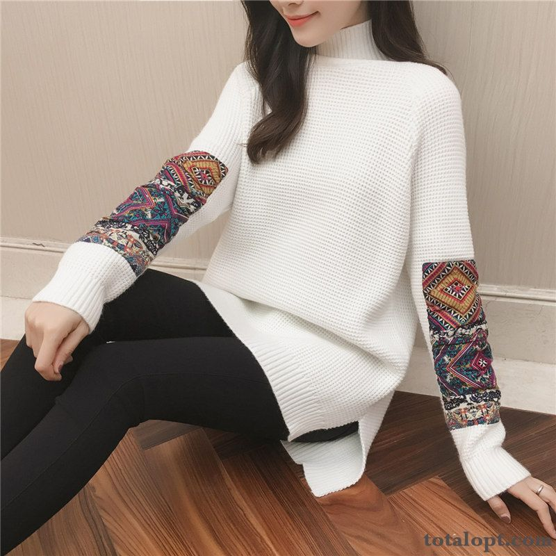 National Style Europe Autumn Sweater Women's Pullovers All-match Bottoming Shirt Knitwear Sweater Coat Winter New Yellow Ocean Blue Sale