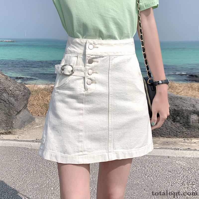 New A Letter Summer White Trend Women's Thin High Waist Short Skirts Pansy Silver White Sale