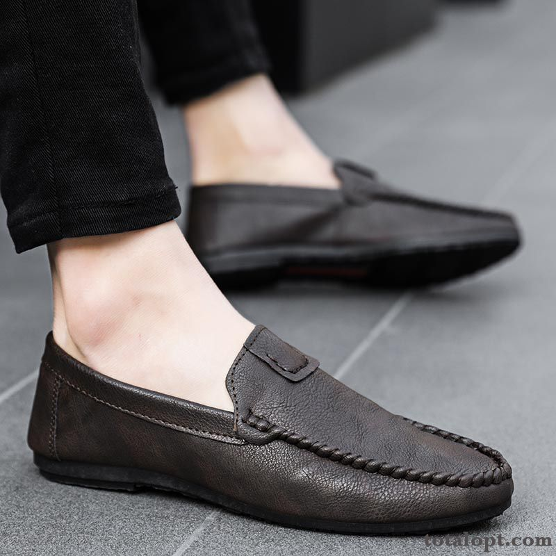 New All-match Casual Slip On Summer Brown Lazy Loafers Trend Men's Black Leather Shoes Sallow Pansy