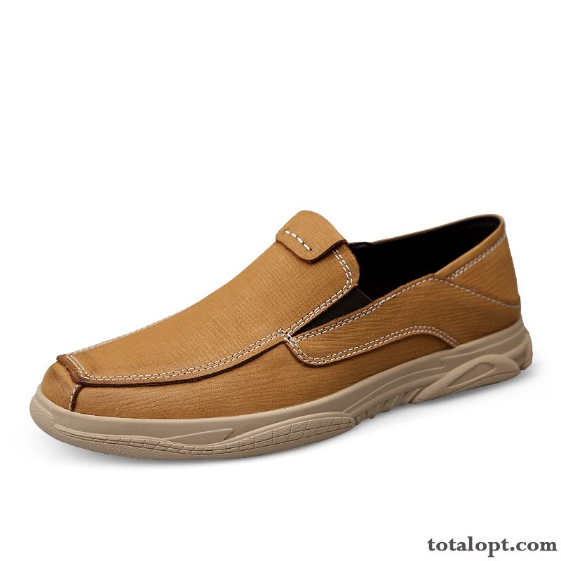 New Autumn Slip-on Slip On Leather Shoes Cloth Shoes Yellow Gold Men's Loafers Soft Sole Coffee Powderblue For Sale