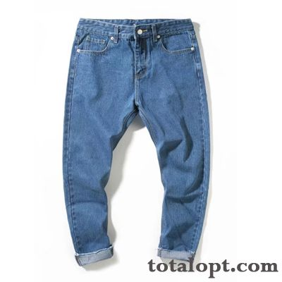 New Blue Jeans Trend Men's Pants Skinny Ninth Pants Straight Youth Europe Slim Dull Black Peacock Blue Sale