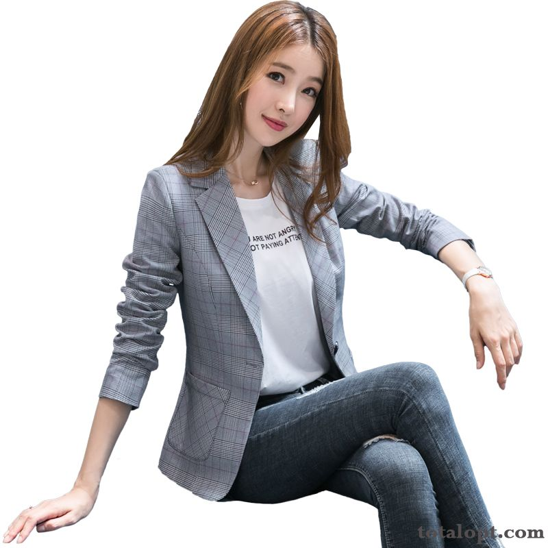 New Coat Autumn Slim Women's Gray Long Sleeves Temperament Thin Blazer Suit Leisure Checks Europe Spring Short Turquoise Blue Iris Online