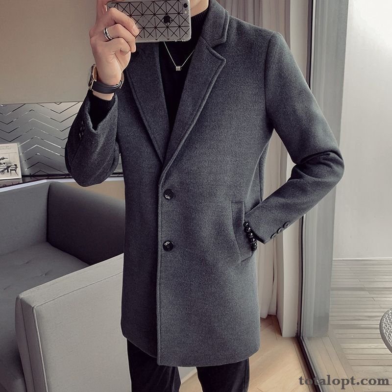 New Coat Gray Dark Long Section Woolen Men's Slim Youth Europe Overcoat Autumn Winter Trend Silver White Salmon Sale