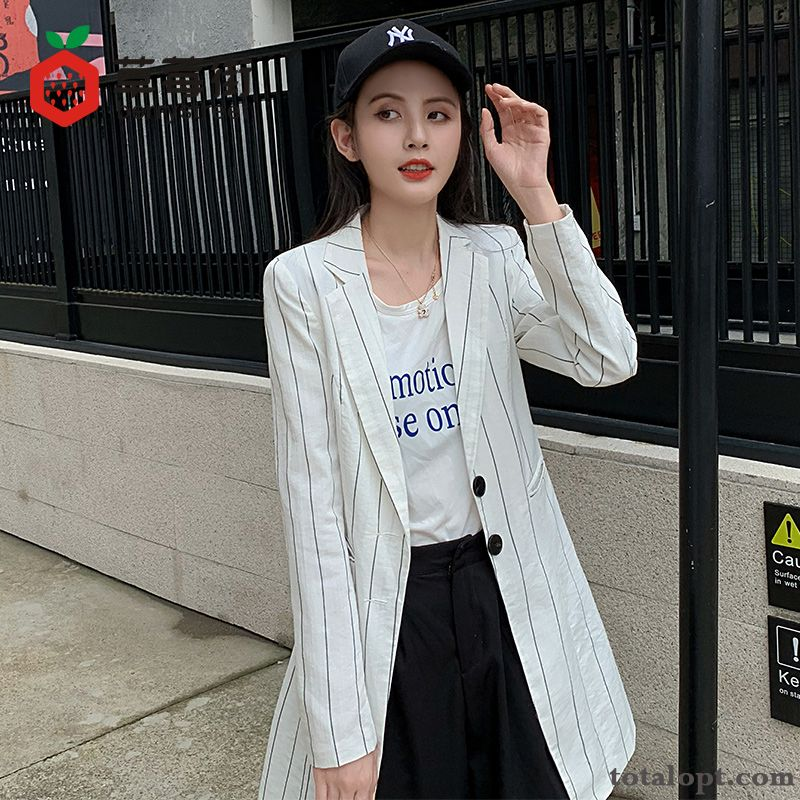 New Coat Leisure Red Slim Suit Long Section Stripes Trend Women's Autumn Retro Spring White Breen Plum Sale
