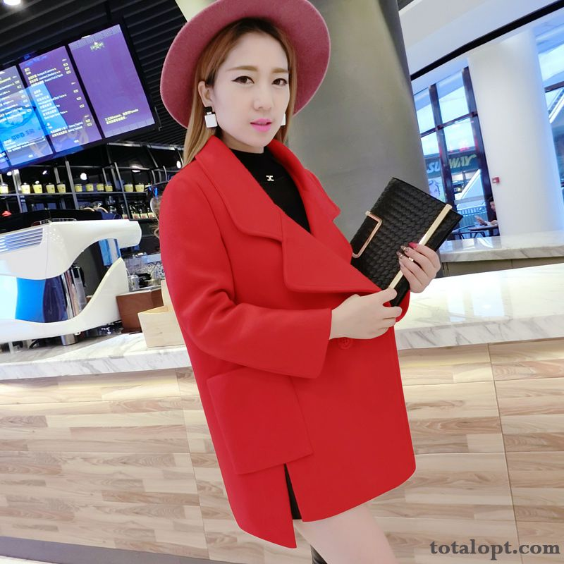 New Europe Long Section Autumn Coat Women's Woolen Winter Overcoat Suit Ivory Plum Online