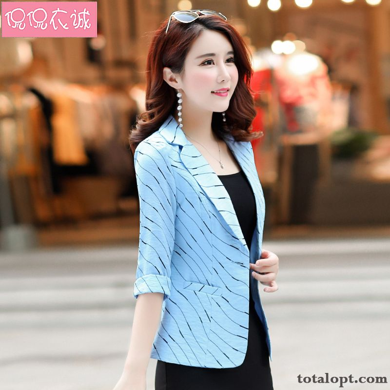 New Europe Spring Coat Women's Slim Suit Stripes Short Leisure Blue Winered Pale Purple