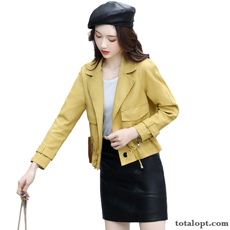 New High Waist Jacket Autumn Trend Short Leather Coat Thin Women's Spring Pale Purple Grey Black Online