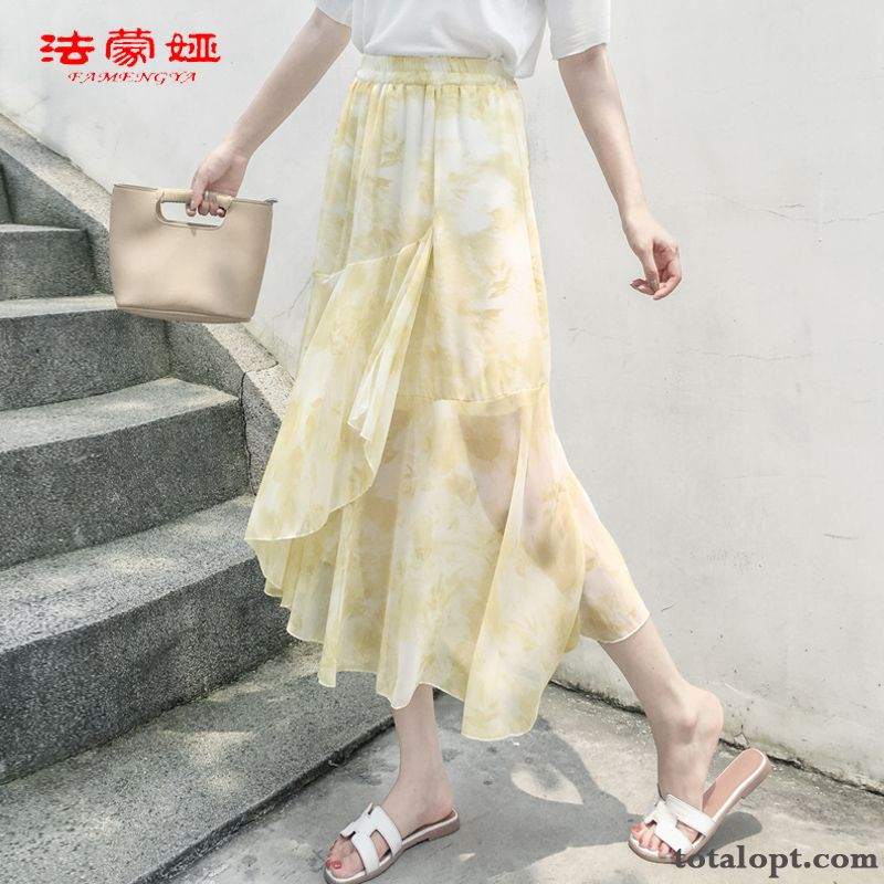 New Irregular Summer Chiffon Women's Big Ultra Long Skirt Orange Lawngreen For Sale
