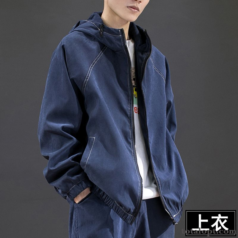 New Jacket Sport Spring Blue Dark Tooling Loose Men's Coat Leisure Europe Trend Rose Violet Darkkhaki