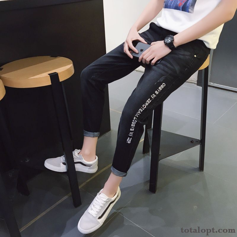 New Jeans Pants Spring Europe Autumn Black Slim Trend Men's Student Gray Grey