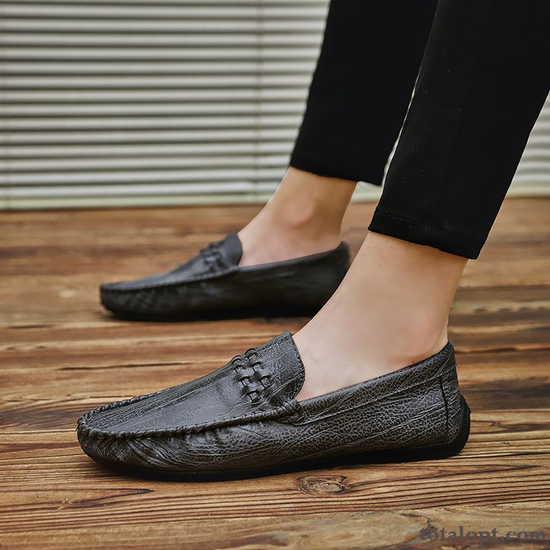New Leather Shoes Slip On Casual Spring Brown Personality Loafers Gray Trend Men's Slip-on Skyblue Henna