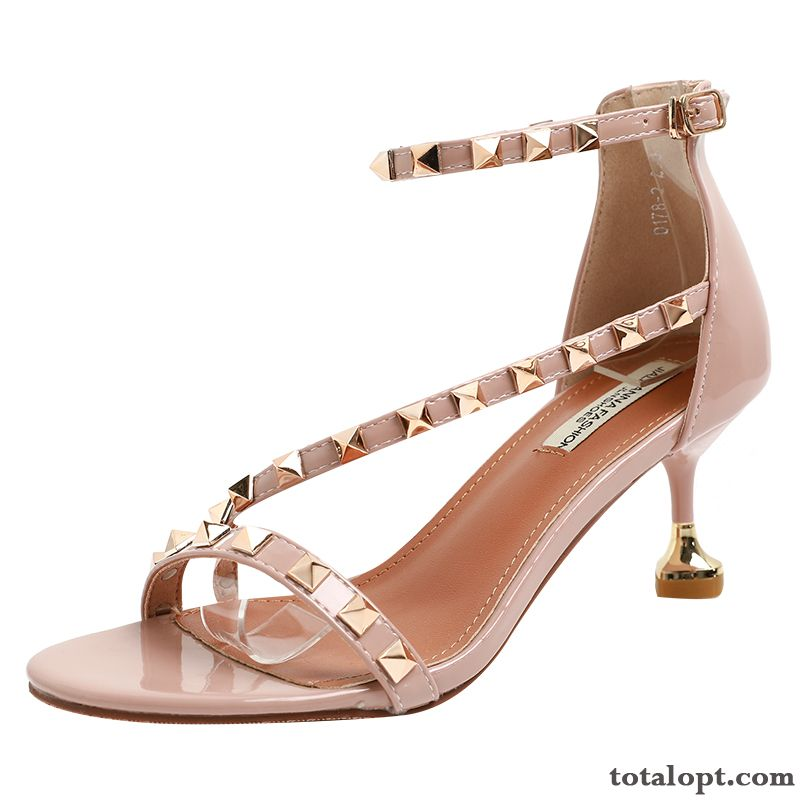 New Pink Summer Trend Rivet All-match Women Beige Shocking Pink Online