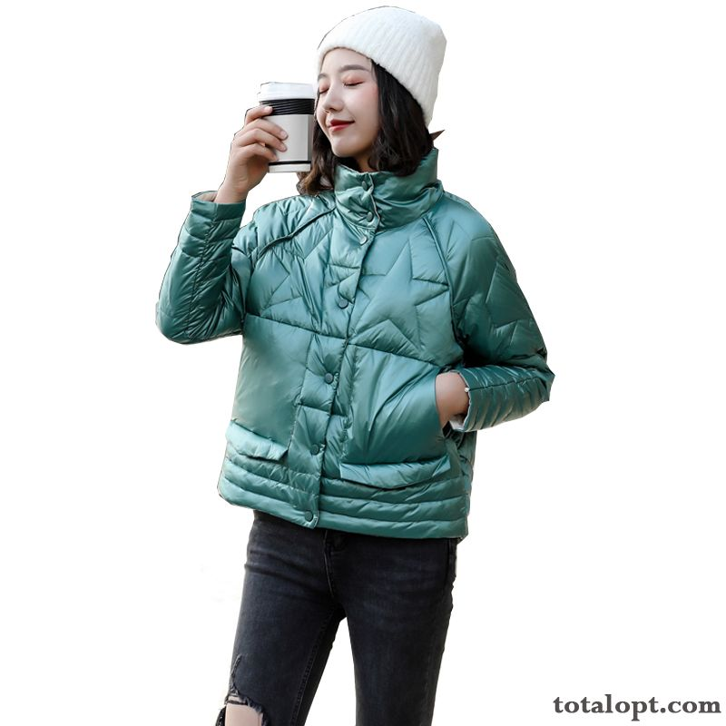 New Sided Women's Down Jacket Loose Autumn Europe Winter White Blue Tea Green Wheat For Sale