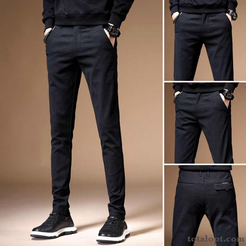 New Skinny Spring Slim Leisure Pants Trousers Youth Black Men's Autumn Pansy Shocking Pink Sale