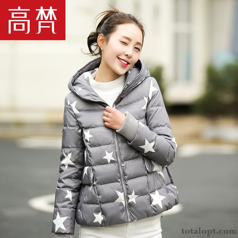 New Student Short Down Jacket Small Style Trend Loose Coat Skinny Light Women's Europe Sky Blue Violet For Sale