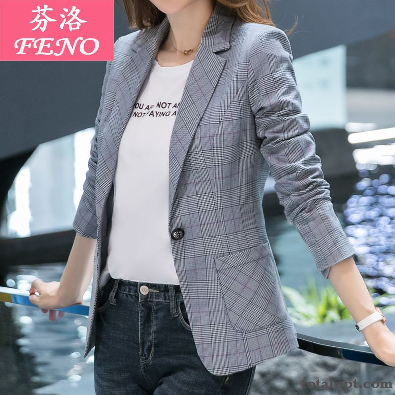 New Temperament Thin Leisure Long Sleeves Short Autumn Women's Slim Spring Coat Gray Europe Checks Suit Blazer Orange Purplish Red