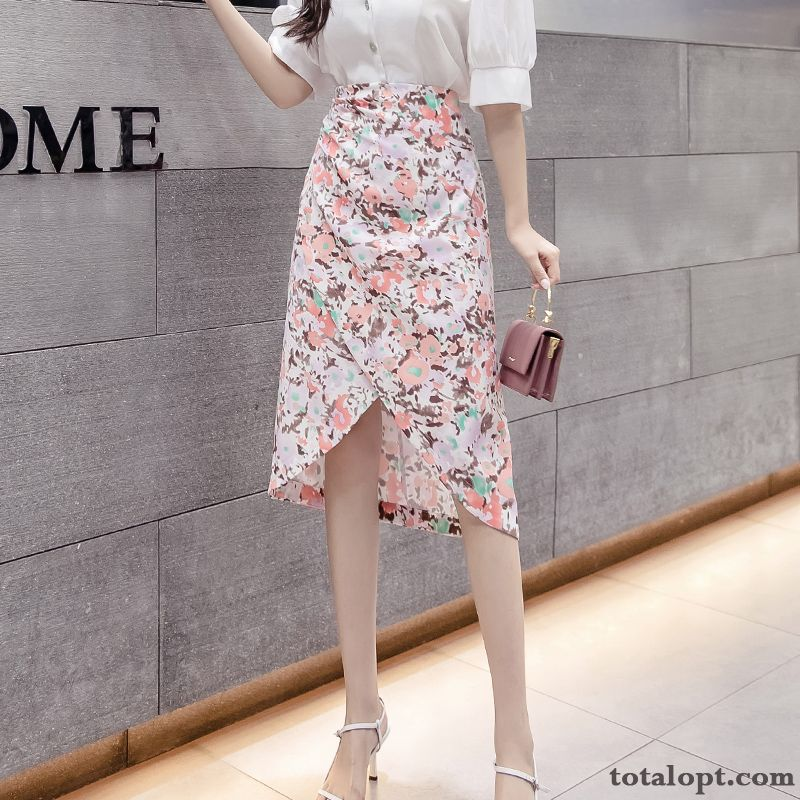 New Thin Summer Women's Pink High Waist Long Skirt A Letter Irregular Floral Dull Black Blue