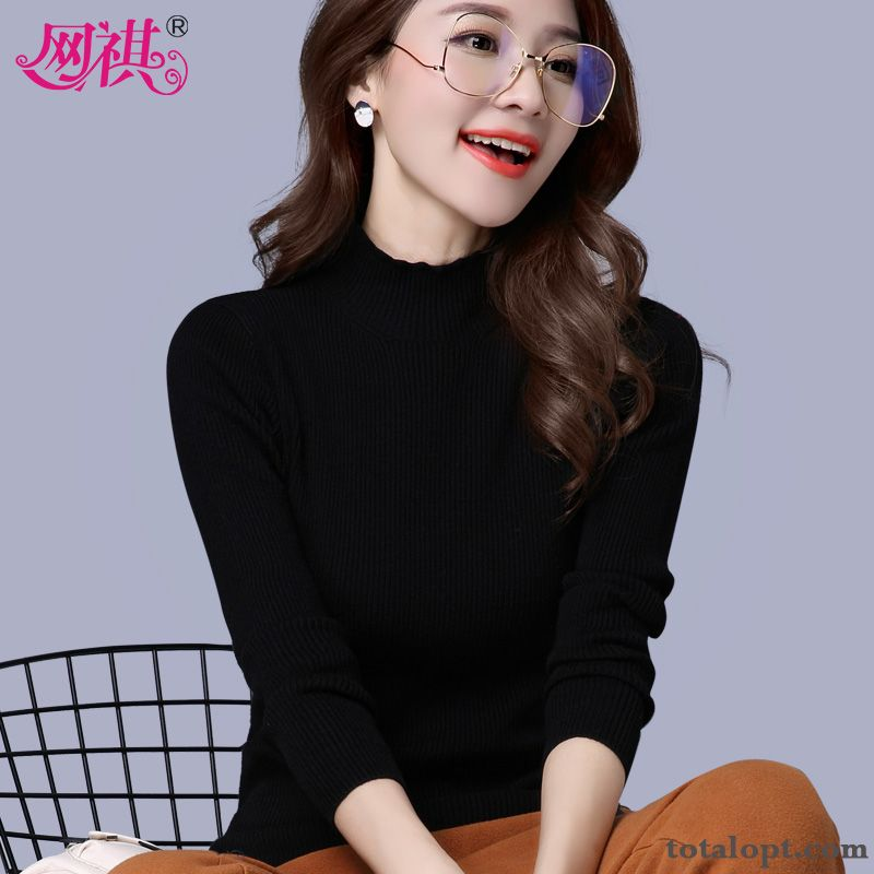 New Tight Lady Short Black Winter Long Sleeves Knitwear Sweater Bottoming Shirt Women's Autumn Slim Peach Blossom Brown