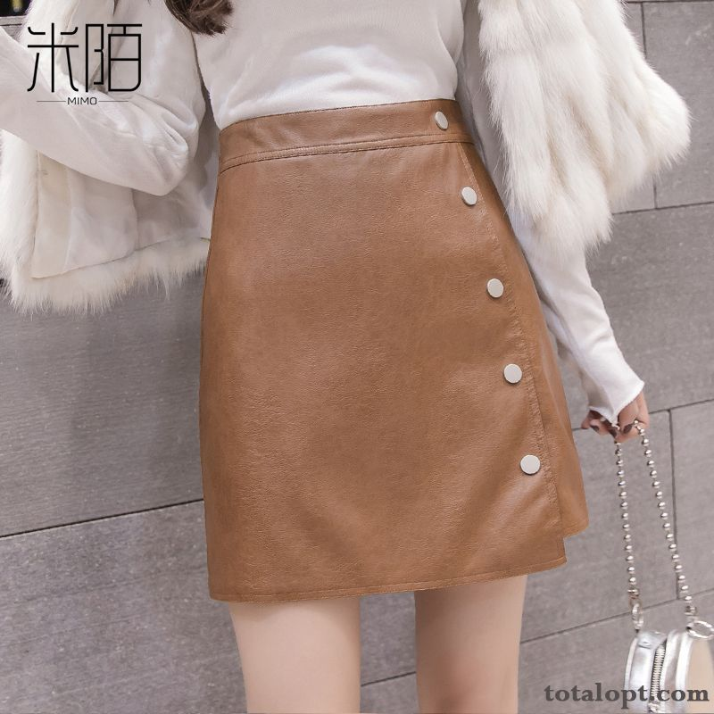 New Women's A Letter Outwear Short Skirts Leather Winter Autumn Fashion Iris Navy