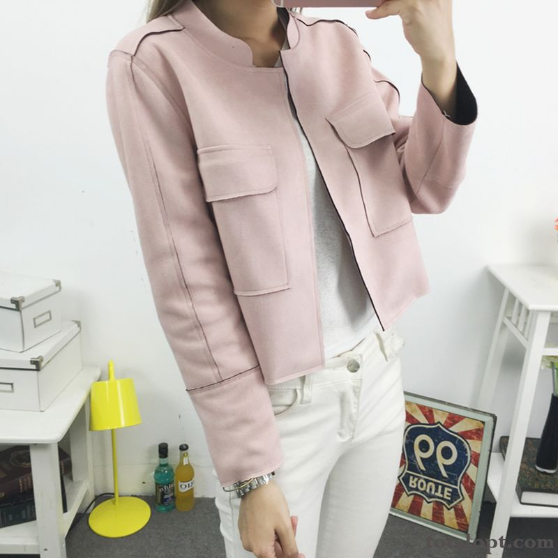 New Women's Autumn Cardigan Coat Short Trend Jacket Leather Suede Baby Pink Ultramarine Sale