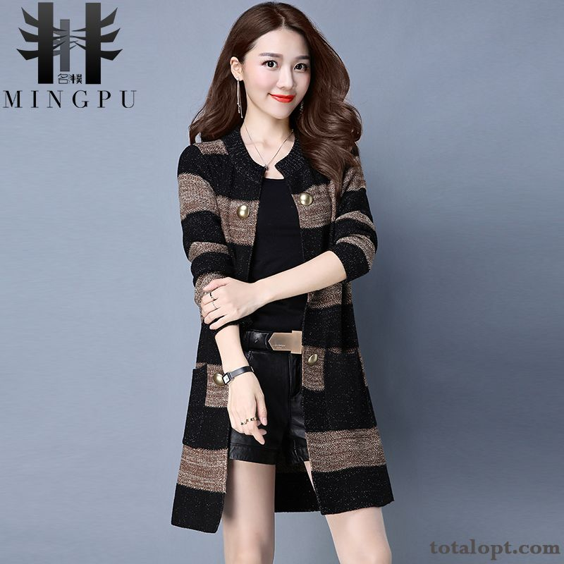 New Women's Coat Loose Knitwear Sweater Cardigan Autumn Europe Winter Long Section Stripes Cream Carbon Black