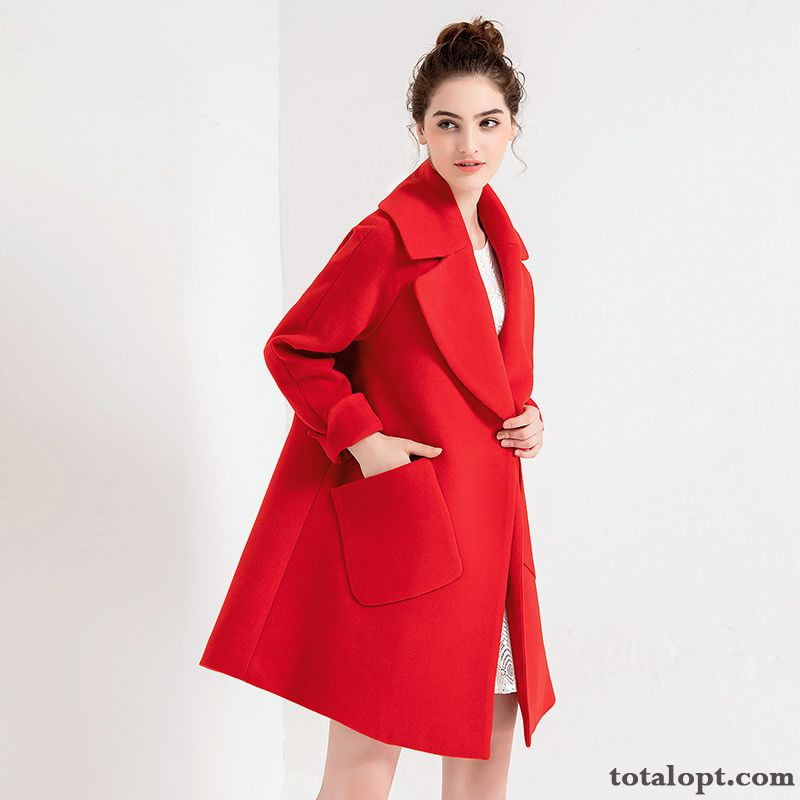 Overcoat Big New Wool Red Lapel Thickening Long Section Europe Women's Loose Winter Rose Orange