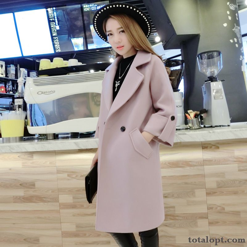 Overcoat New Winter Clothes Woolen Suit Thin Europe Long Section Women's Sort Buttons Tea Green Blue Online