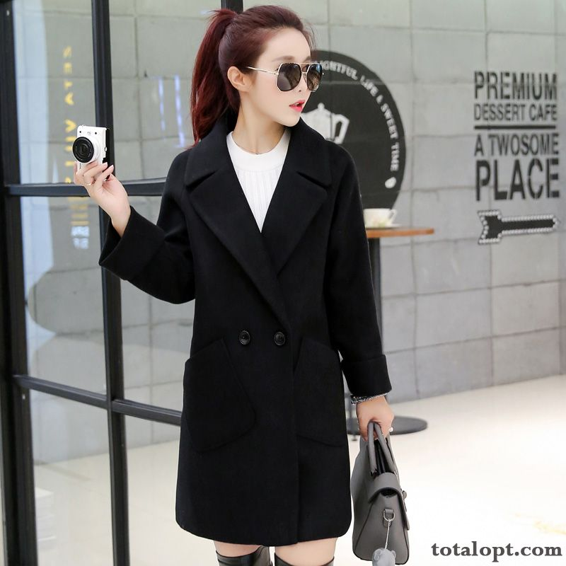 Overcoat Winter Loose Women's Woolen Sort Buttons Thin Autumn Long Section Palegreen Azure