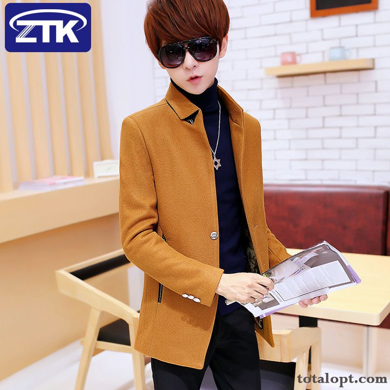 Overcoat Woolen Plus Velvet Long Section Personality Winter Thickening Men's Trend Europe Slim Khaki Winered Discount