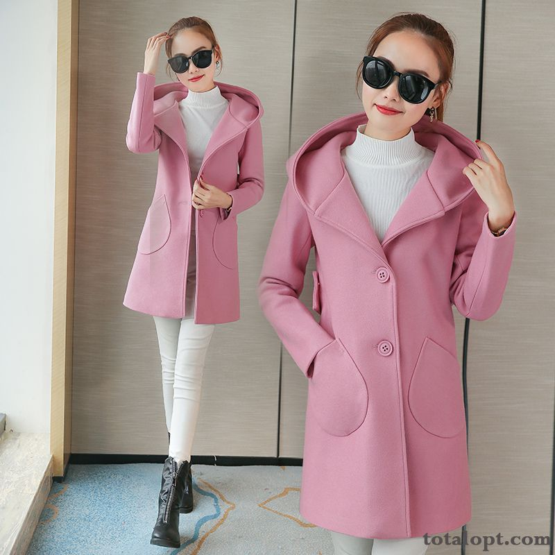 Overcoat Woolen Thin Thickening Autumn Long Section Europe Trend Women's Hooded Winter Student Violet White