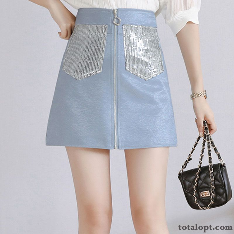 Paillette Pocket Short Skirts Women's Slim Spring Lady Summer Europe Blue Zipper High Waist Thin Azure Rainbow