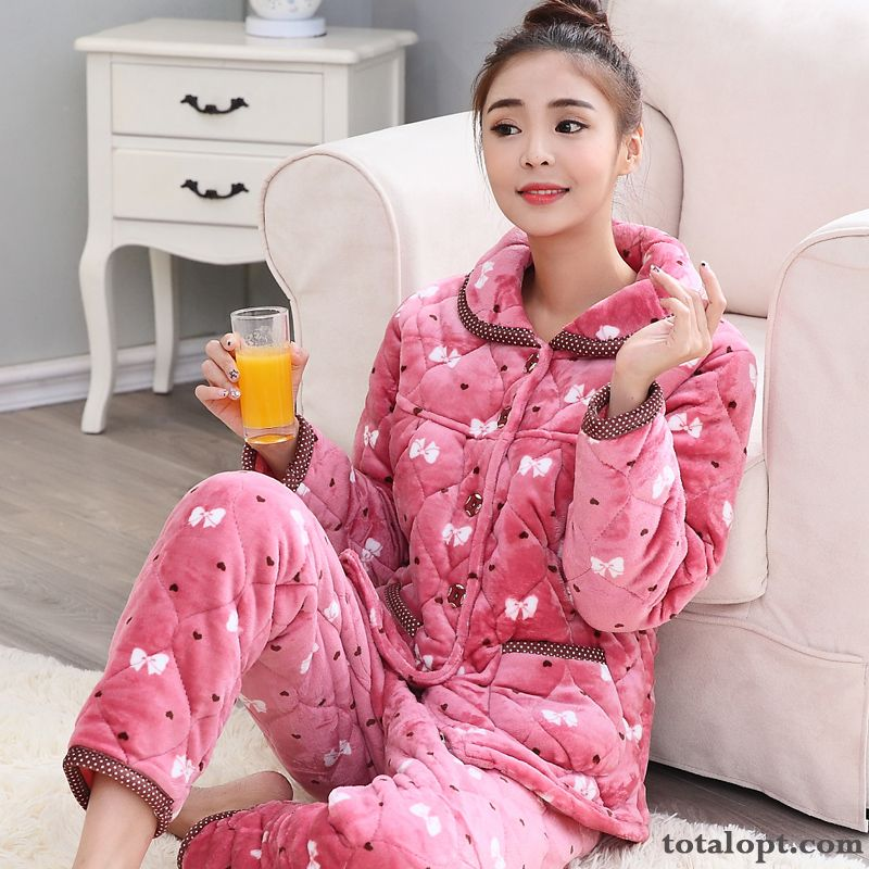 Pajamas Lady Women's Cotton-padded Winter Robes Warm Thickening Rose Violet Earth Yellow