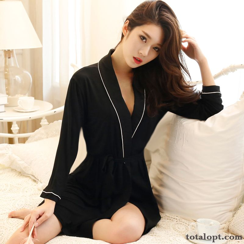 Pajamas Sexy Autumn Skinny Summer Long Sleeves Robes Women's Leisure Lady Spring Nude Lake