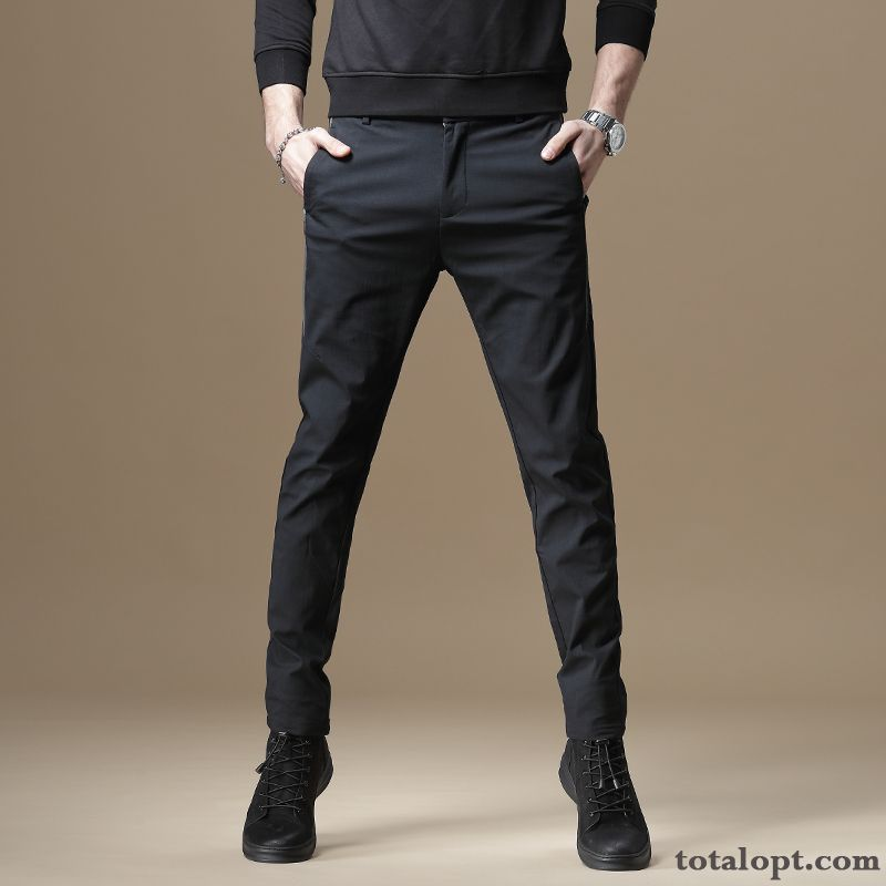 Pants Elasticity All-match Trend Skinny Black Leisure Men's Slim Thin Summer Europe Oyster White Vermeil For Sale