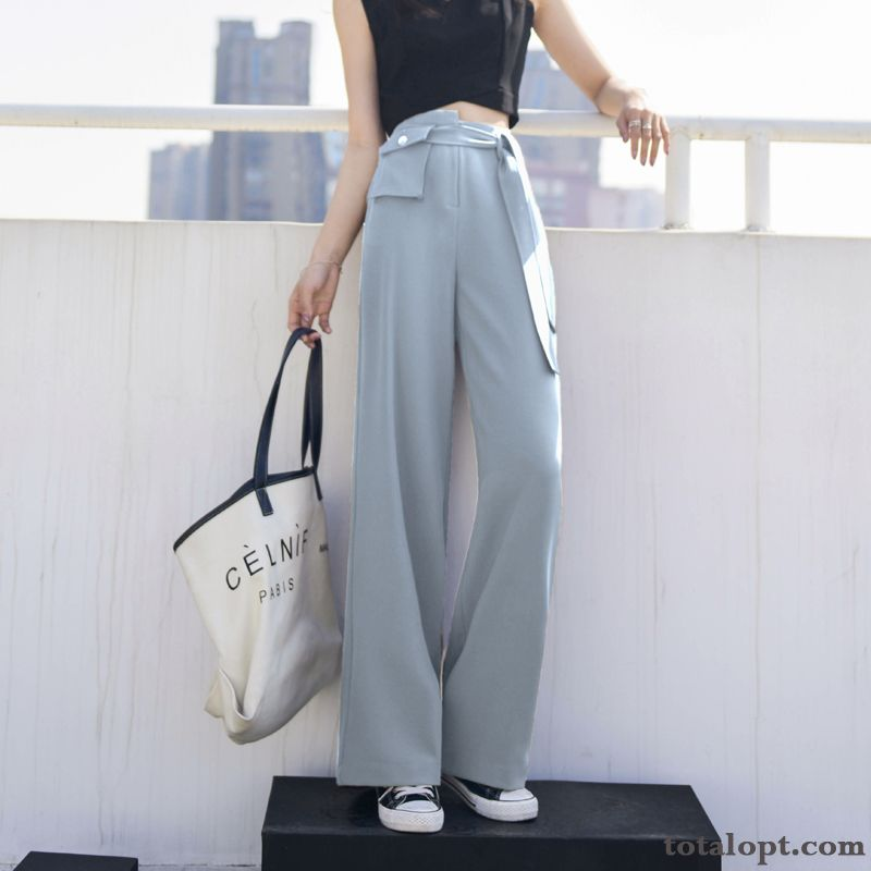 Pants Fashionable Leisure Thin Summer Chalaza Retro Gray Women's Loose Straight High Waist Sky Blue Oyster White
