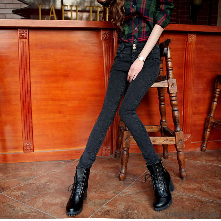 Pants New Black Trousers Plus Velvet High Waist Pencil Pants Trend Skinny Winter Women's Jeans Lilac Reddle For Sale