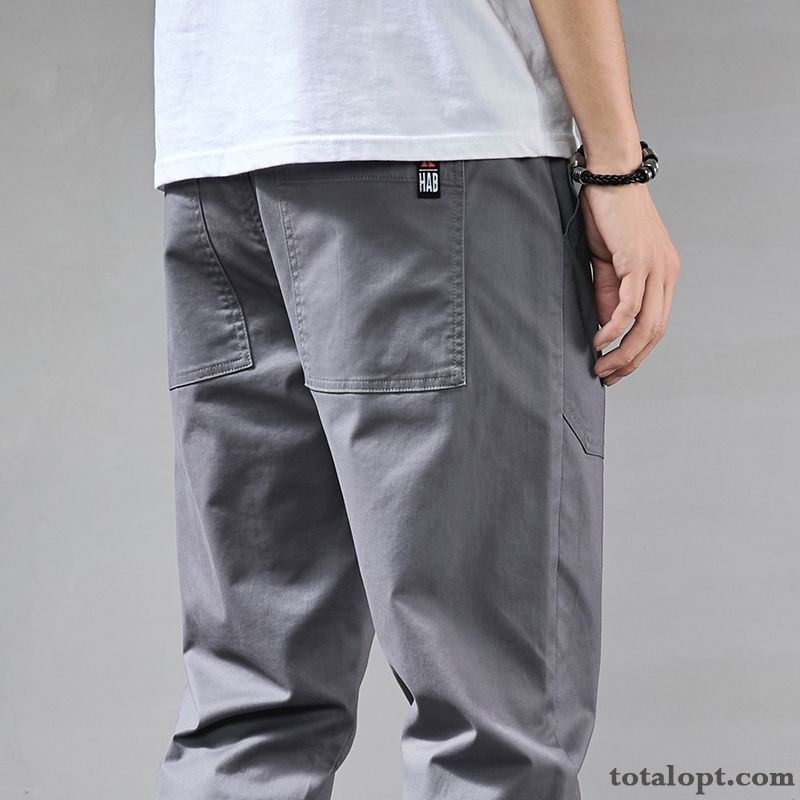Pants Summer Elastic All-match Cotton Leisure Gray Pure Spring New Men's Maroon Turquoise For Sale